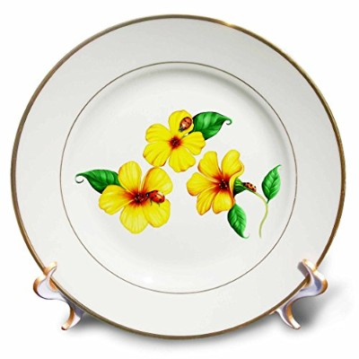 Pretty yellow wildflowers and cute ladybugs on a light background - 20cm Porcelain Plate