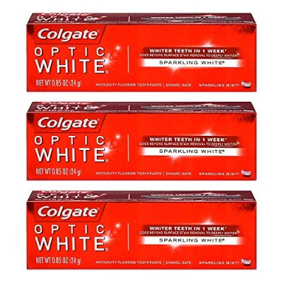 Colgate Optic White Toothpaste Sparkling Mint 0.85 Oz Travel Size (Pack of 3) by Optic