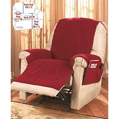 (Red) - Recliner Chair Cover One Piece w/Armrests and Pockets - One Size Fits Most