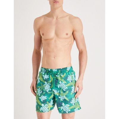 ヴィルブレクイン 海パン turtle and starfish print swim shorts Green