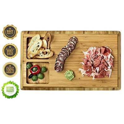 2イン1 Foodieボードby Finic竹Cutting & Serving Board – Prep & Serve Food inスタイル – 環境に優しい&耐久性 – W...