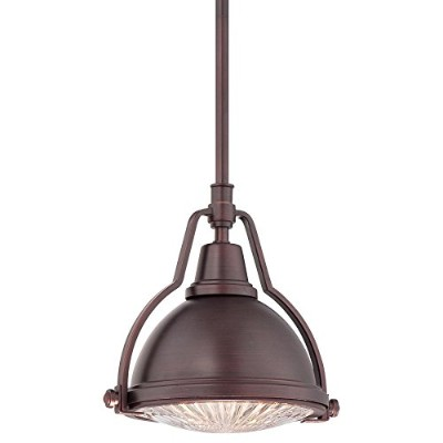 Minka Lavery 2252-576 1 Light Pendant in Brushed Bronze Finish w/ Metal Shade and Ribbed Clear...