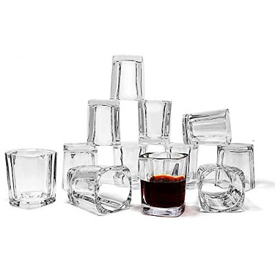 Jalousie 12 Pack clear glass 60mls 6.1cm Tall Shot Glass Tumbler Cup for Coffee Espresso Shot Jello...