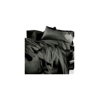 """(Twin"""",""""Black) - NEW SATIN SHEET SET WITH PILLOWCASES"""