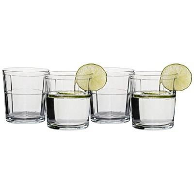 Circleware Pavillion Double Old Fashioned Whiskey Glasses, Set of 4, 380ml, Clear