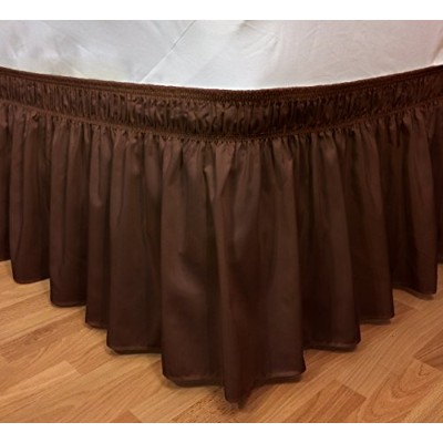 (Brown) - Elegant Elastic Ruffle Bed Skirt Easy Warp Around King/Queen Size Bed Skirt Pins Included...