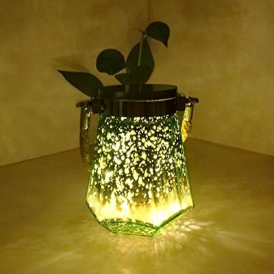 (14cm Tall - 11cm Wide - Waterproof - 5hr Timer, GREEN Dodecagon Jar - Warm White Glow) - HOME MOST...