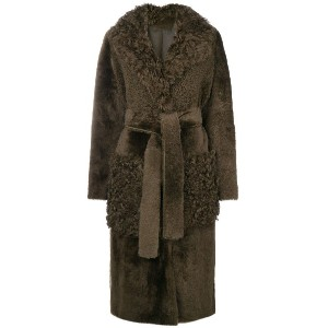 Yves Salomon long shearling coat - グリーン