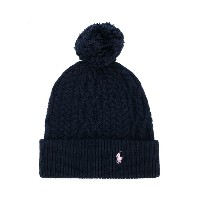Ralph Lauren Kids cable knit pompom hat - ブルー