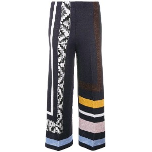Circus Hotel mix patterns flared trousers - ブルー