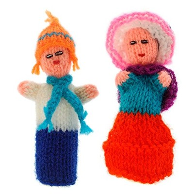 Andinos Finger Puppet, puppet for playing and learning, toys hand-knitted from soft wool
