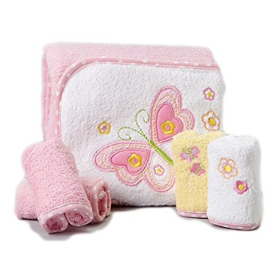 Spasilk 100% Cotton Hooded Terry Bath Towel with 4 Washcloths, Pink Butterfly by Spasilk
