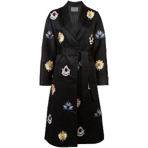 Osman embroidered belted coat - ブラック