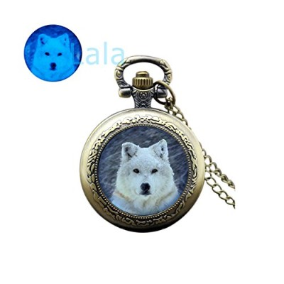 Glowingポケット時計ネックレスウルフWhite WolfグローWolf Glow in the Dark Wolf時計ネックレスウルフ腕時計ペンダントAnimal Watch Jewel...