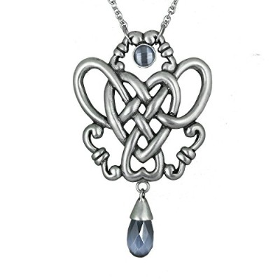 ControseレディースAntiique silver-tonedステンレススチールForget Me Knot–ノットwith Stonesネックレス