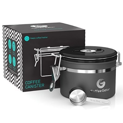 (Small, Gunmetal Gray) - Coffee Gator Stainless Steel Container - Canister with co2 Valve and Scoop...