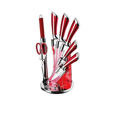 Imperial Collection Stainless Steel Kitchen Cutlery Knife Set with Rotating Acrylic Stand, 8-Piece ...