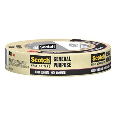 3M Scotch 2020 Painters Masking Tape, 20 lbs/in Tensile Strength, 55m Length x 24mm Width, Tan by 3M
