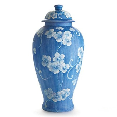 Quince Blossom Tall Urn with Lid