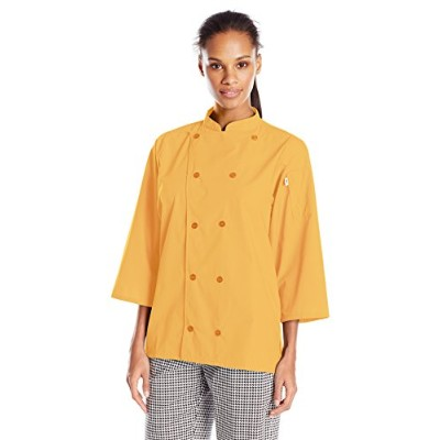 Uncommon Threads 0975-5205 Epic 3/4 Sleeve Chef Shirt in Sunflower - XLarge