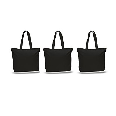 Pack of 3Largeヘビーキャンバスプレーントートバッグ、トップと内側ファスナー開閉by bagzdepot ブラック