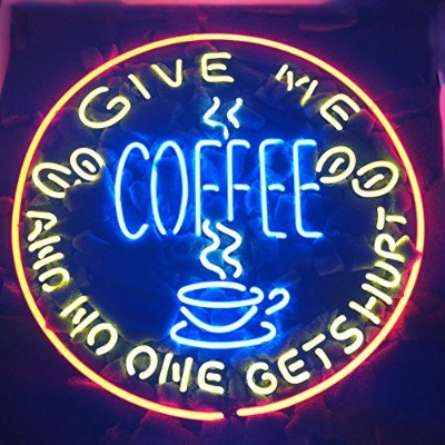 Give Me Coffee and No One Get Hurt RealガラスネオンライトサインホームビールバーパブRecreation Room Game Room Windowsガレージ壁S...