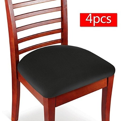 (4, Black) - Boshen Elastic Spandex Chair Stretch Seat Covers Protector for Dining Room Kitchen...