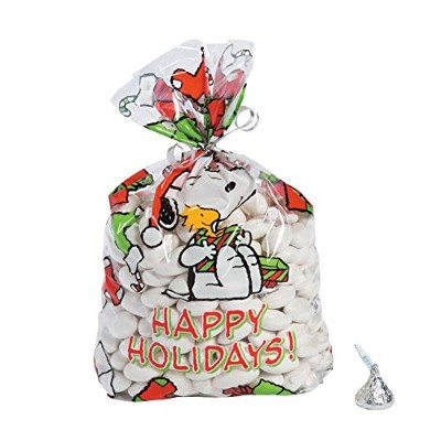 Peanuts Christmas Party Loot Cellophane Bags Snoopy, Woodstock, Stockings and Presents (1 Pack, 12...