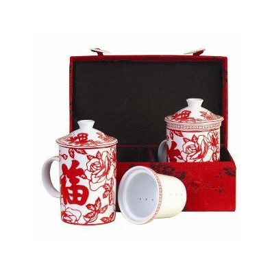 Tea Mug – Tea for Two – Red Cherry Blossom with Good Fortuneカップ – シルクギフトボックス
