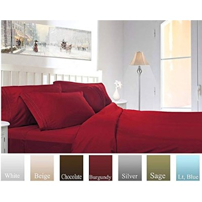 (Twin, Burgundy) - Ruthy's Textile Bed Sheet Set - Hotel Luxury Brushed Microfiber 1800 Bedding -...
