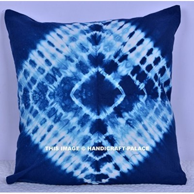 Square Indigo Blue Colour 41cm x 41cm Size Hippie Mandala Outdoor Cushion Cover Indian Cotton...