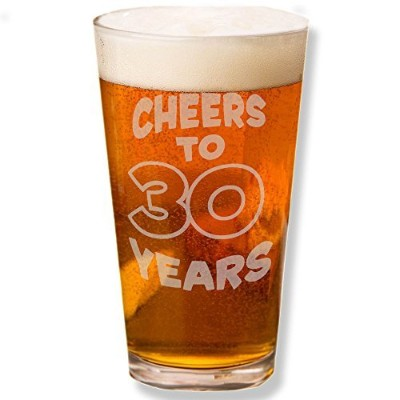 (1-Beer Pint Glass) - Shop4Ever Cheers To 30 Years Laser Permanently Engraved Beer 470ml Pint Glass...