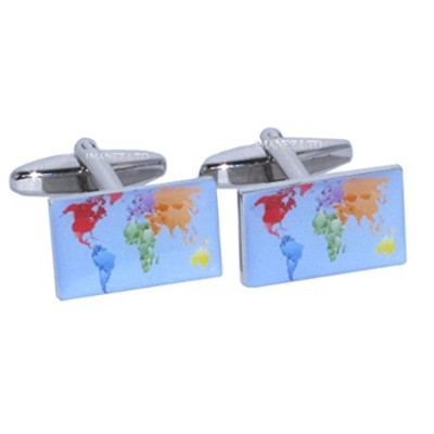 Map of the World Cufflinks in Gift Box