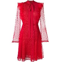 Giamba lace embroidered flared dress - レッド
