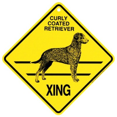 Curly Coated Retriever Xing Caution Crossing Sign犬ギフト