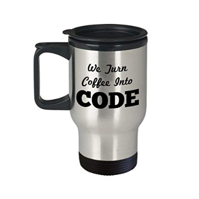 Funny Computer Programmer Travel Mug, Large Tea Cup PerfectギフトIdeal forメンズレディース–We Turn code...