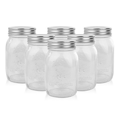 (6, 470ml) - Golden Spoon Mason Jars, With Regular Lids, and Lids for Drinking, Regular Mouth,...
