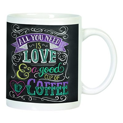 All You Need Is Love and Goodカップのコーヒー黒板デザイン12オンスセラミックコーヒーマグ