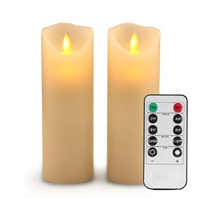 Flameless Candlesちらつきキャンドル装飾バッテリFlameless CandleクラシックReal Waxピラーwith Dancing LED Flame & 10...
