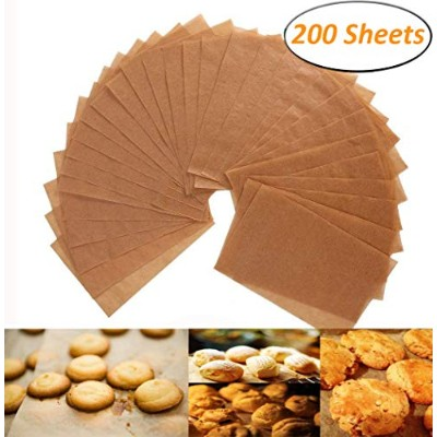 (200) - Unbleached Parchment Paper - 200 Non-Stick Brown Cookie Baking Sheets - 30cm x 41cm - Safe...