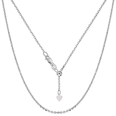 """10k White Gold Adjustable Cable Link Chain Necklace, 0.9mm, 22"""""""
