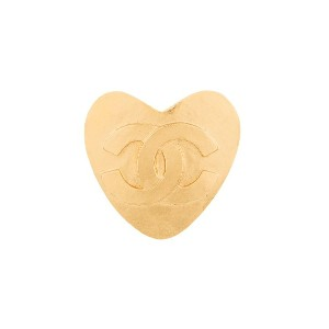 Chanel Vintage heart motif brooch pin corsage - メタリック