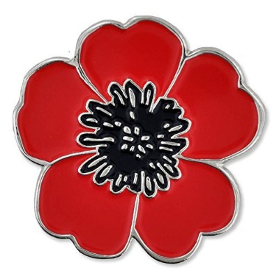 PinMart's Red and Black Poppy Flower Remembrance Memorial Day Enamel Lapel Pin by PinMart