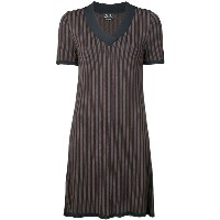 A.P.C. striped v-neck shift dress - ブルー