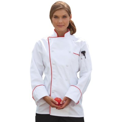 Uncommon Threads 0432-4607 Murano Chef Coat in White with Red Piping - 3XLarge