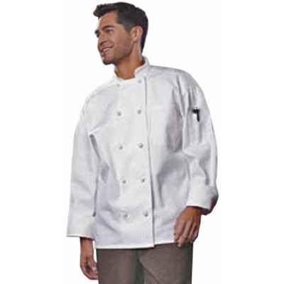 Uncommon Threads 0427-2507 Classic Knot With Mesh Chef Coat in White - 3XLarge