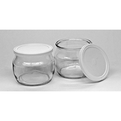 (12) - The Dairy Shoppe Glass Yoghurt Jars with lid Half Pint (12)