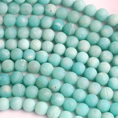 Natural Genuine Amazonite Unpolished Matte Round Real Gemstone Jewelry Making Loose Beads (6mm) by...
