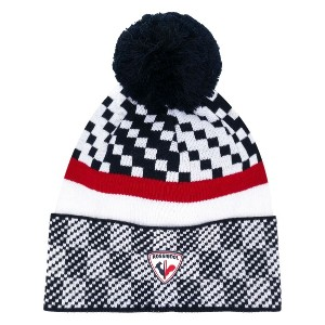 Rossignol pom pom checked hat - ブルー