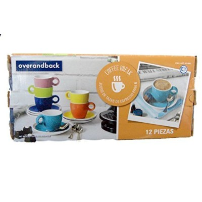 Over & Back Coffee Break 12 Piece Espresso Cup and Saucer Set